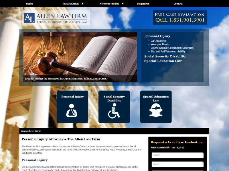 Allen Law Firm Website Screenshot