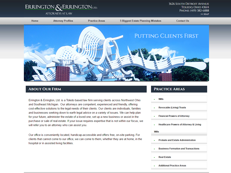 Errington Legal Website Screenshot
