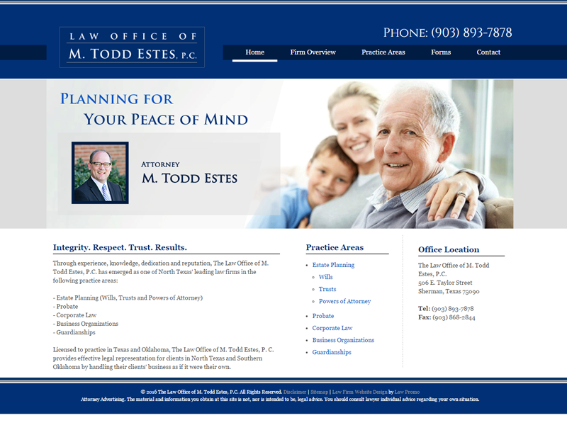 Estes Law Firm Website Screenshot