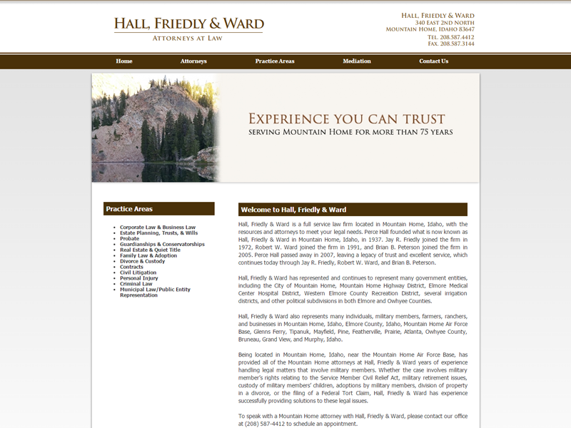 Hall, Friedly & Ward Website Screenshot