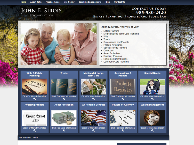 John E. Sirois, Attorney at Law Website Screenshot