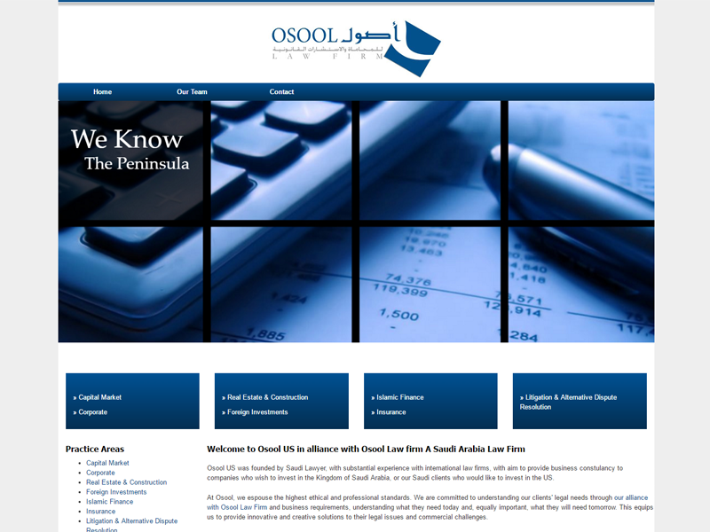 Osool Law Firm US Website Screenshot`