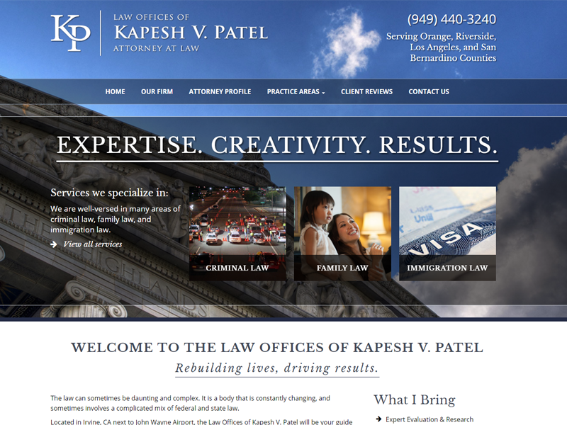 Law Offices of Kapesh V. Patel Website Screenshot