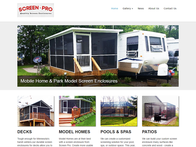 Screen Pro Screen Enclosures Website Screenshot