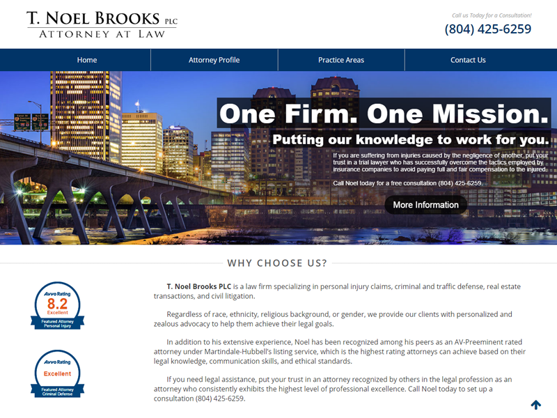T. Noel Brooks Law Website Screenshot