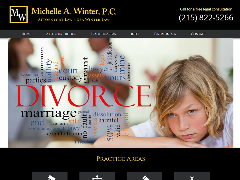 Michelle A. Winter, Attorney at Law Website Screenshot