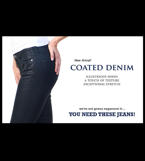 Model in treatment coated Denim Jeans