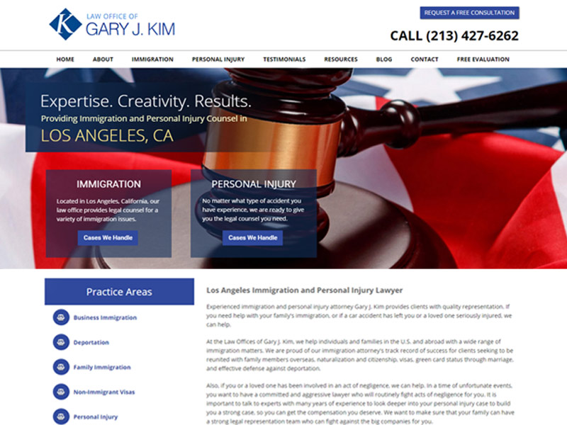 screenshot of website gjklawgroup.com
