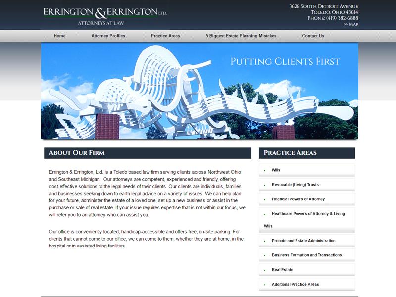 Errington Legal Website Screenshot