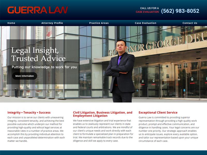 Guerra Law Website Screenshot
