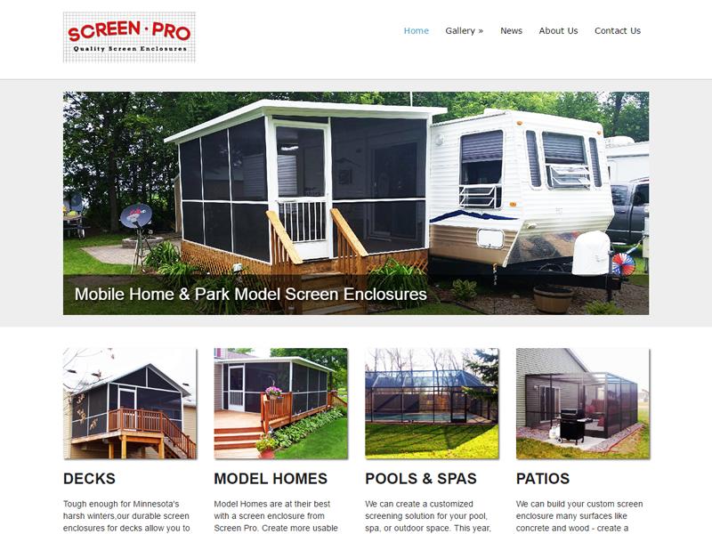 Screen Pro Screen Enclosures Website Screenshot