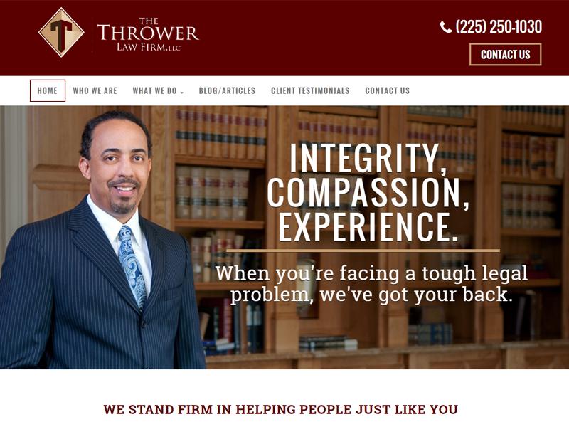 Thrower Law Firm Website Screenshot