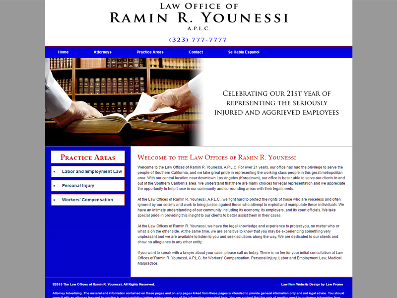 Law Office of Ramin R. Younessi Website Screenshot