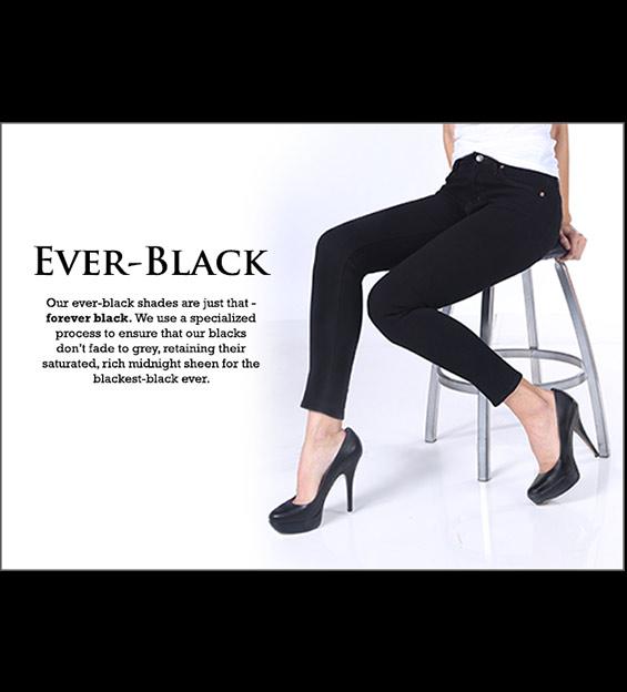 Model sitting on stool wearing black denim