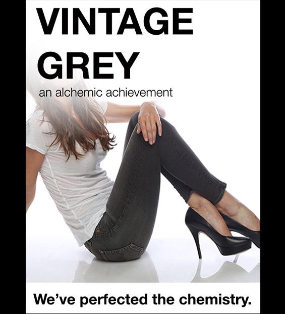 Model wearing grey Denim Jeans