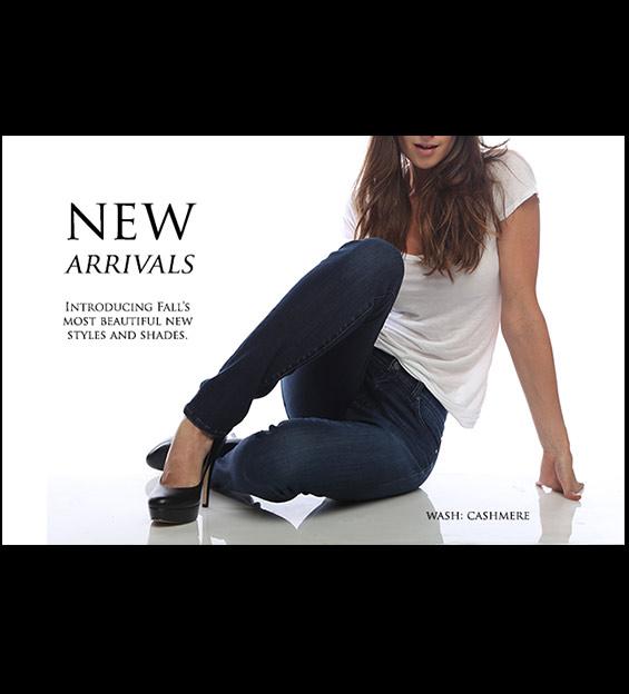Model sitting in Denim Jeans