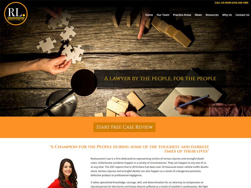screenshot of website roshanzamirlaw.com